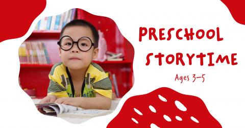 Preschooler in circle with red accents. Preschool Storytime ages 3 to 5